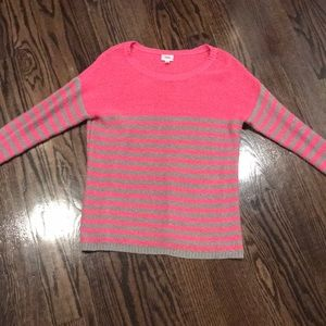 Sparkle pink and gray stripped justice sweater